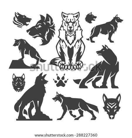 set wolfs vector illustrations