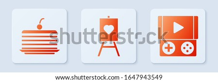 Set Wood easel or painting art boards, Cake and Portable video game console. White square button. Vector