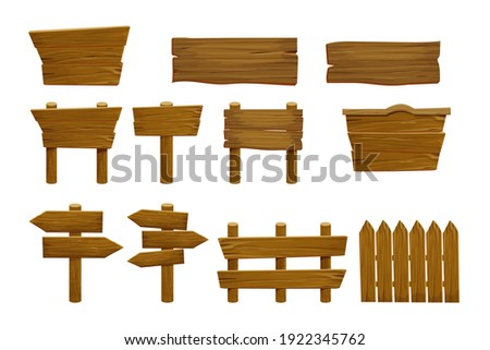 Set wooden elements fence, plywood planks, banner, empty signboard textured in cartoon style isolated on white background. Template assets ui game. Collection frames, button.  Stock photo ©
