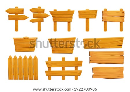 Set wooden elements fence, plywood planks, banner, empty signboard textured in cartoon style isolated on white background. Template assets ui game. Collection frames, button.  Stockfoto ©
