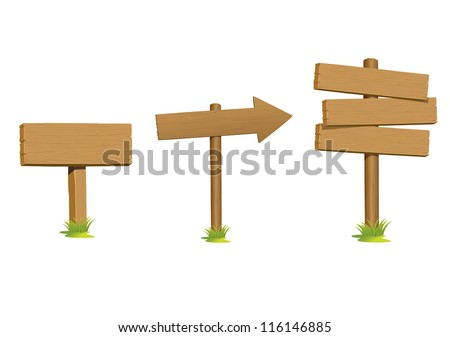 set wooden sign vector