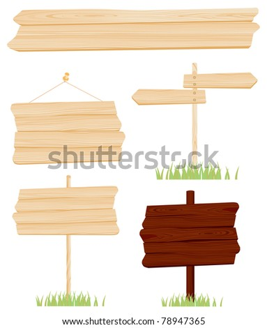 Set wooden sign vector #78947365