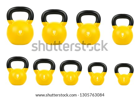 set yellow kettlebell, Gym equipment 40, 32, 20, 16, 10, 8, 6, 4, & 2 kg, 3d realistic isolated on white background, EPS 10