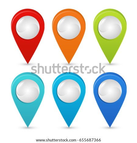 Seth colorful map pointers. Map pointers 3d icons. Vector image isolated