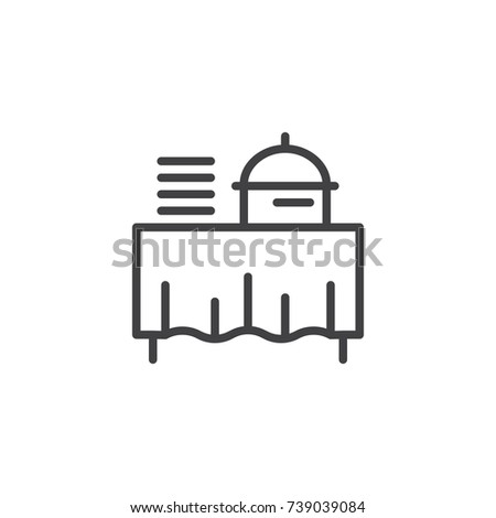 Setout line icon, outline vector sign, linear style pictogram isolated on white. Buffet self service restaurant symbol, logo illustration. Editable stroke