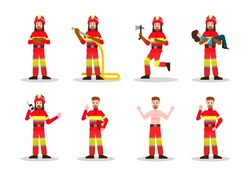 Sets of Firefighting. Fireman character design in many pose. vector illustration