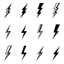 sets of lightning bolt thunder icon