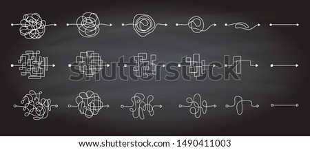 Sets of messy clew symbols lines with scribbled round element, consept of transition from complicated to simple, on a chalkboard background Vector illustration.