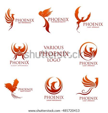Sets of Phoenix logo design template. Vector Illustration