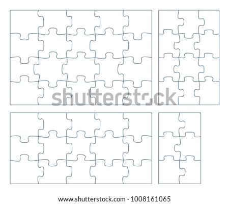 Sets Of Puzzle Pieces Vector Illustration 2 X 3 4 Infographic Template