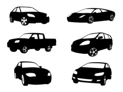 Sets of silhouette cars vehicle icon in isolated white background, vector illustration