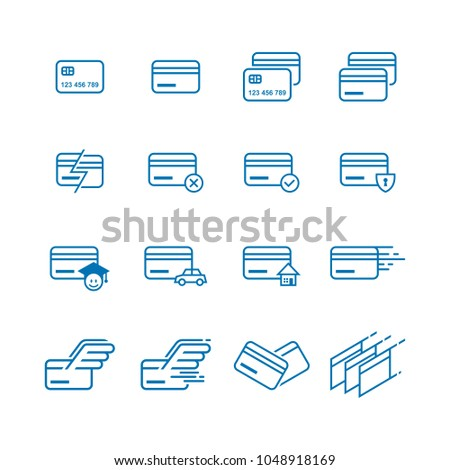 Sets of Thin Line Credit Cards Icons