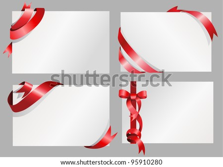Sets of white paper with stylish red ribbon