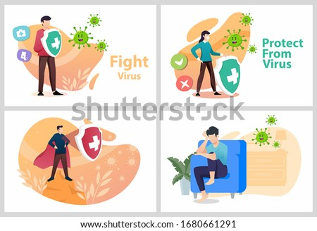 Sets Vector illustration fight covid-19 corona virus. people fight and protect virus concept. corona viruses vaccine concept. end of 2019-ncov.