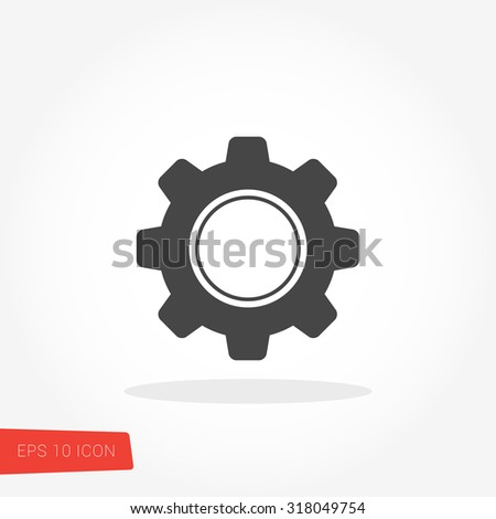 Setting, Gear, Tool, Cog Isolated Flat Web Mobile Icon / Vector / Sign / Symbol / Button / Element / Silhouette