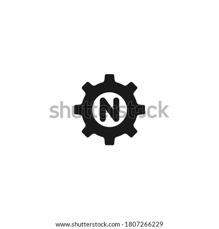 Setting icon n letter vector, Tools, Cog, Gear Sign Isolated on white background. Help options account concept. Trendy Flat style for graphic design, logo, Web site, social media, UI, mobile app Foto stock ©