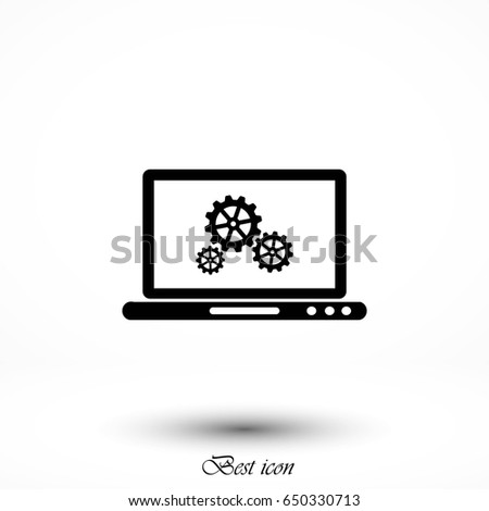 setting laptop icon vector, flat design best vector icon