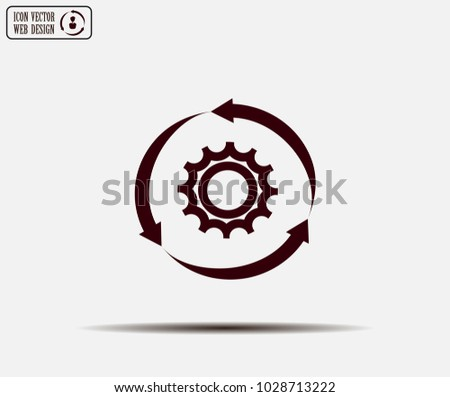setting parameters, circular arrows icon, vector illustration. Flat design style