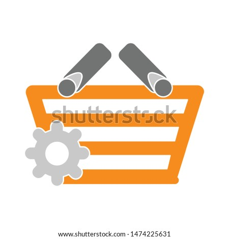 setting shopping basket icon. flat illustration of setting shopping basket vector icon. setting shopping basket sign symbol