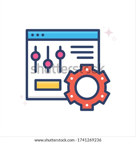 setting vector icon style illustration. Startup and New Business outline filled symbol icon. EPS 10