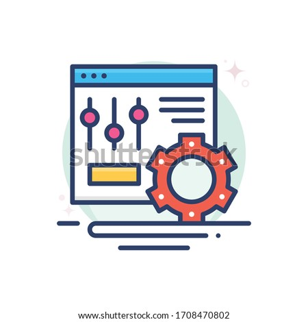 setting vector illustration.  Startup and new business filled outline icon.