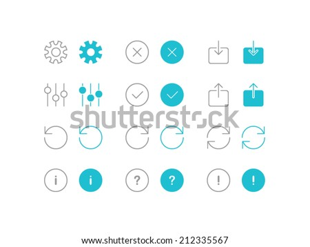 Settings and arrows icons set in flat and line style