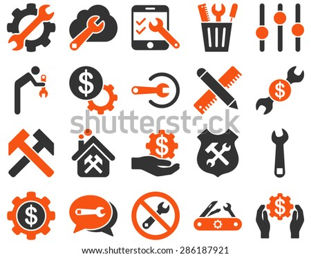 Settings and Tools Icons. Vector set style: bicolor flat images, orange and gray colors, isolated on a white background.