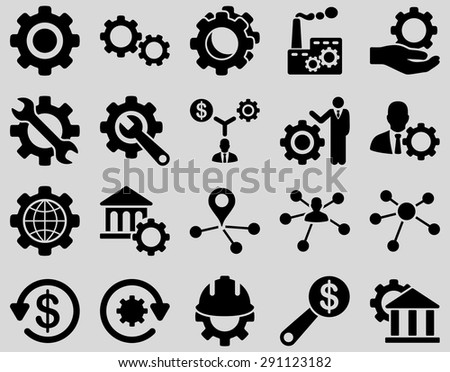 Settings and Tools Icons. Vector set style: flat images, black color, isolated on a light gray background.