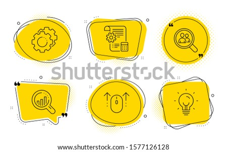 Settings blueprint, Settings gears and Energy signs. Chat bubbles. Swipe up, Seo analysis and Search employees line icons set. Scrolling page, Targeting chart, Staff analysis. Report document. Vector