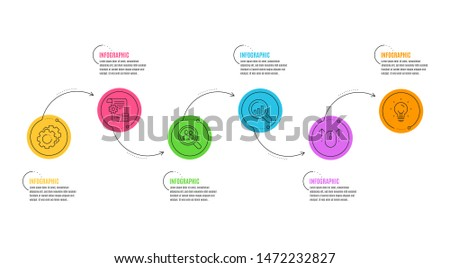 Settings blueprint, Settings gears and Energy signs. Infographics timeline. Swipe up, Seo analysis and Search employees line icons set. Scrolling page, Targeting chart, Staff analysis. Vector