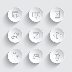 settings, configuration, preferences line icons in round 3d shapes, vector illustration, eps10, easy to edit