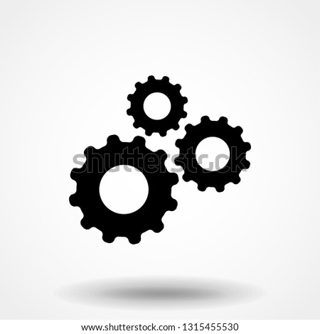 Settings gears icon vector in modern flat style for web, graphic and mobile design.