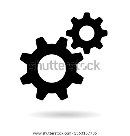 Settings icon. Black gears. Functions symbol Stock photo ©