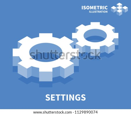 Settings icon. Isometric template for web design in flat 3D style. Vector illustration.