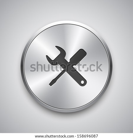 Settings icon on round metal button. Vector background.