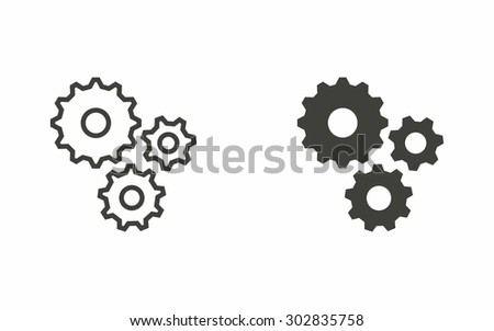 Settings icon on white background. Vector illustration.