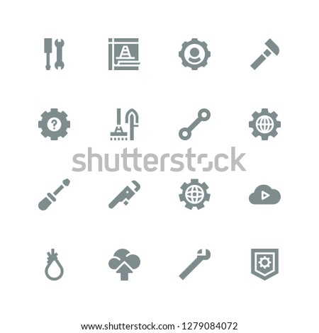 settings icon set. Collection of 16 filled settings icons included Settings, Wrench, Cloud computing, Tool, Screwdriver, Tools, Hammer, Maintenance