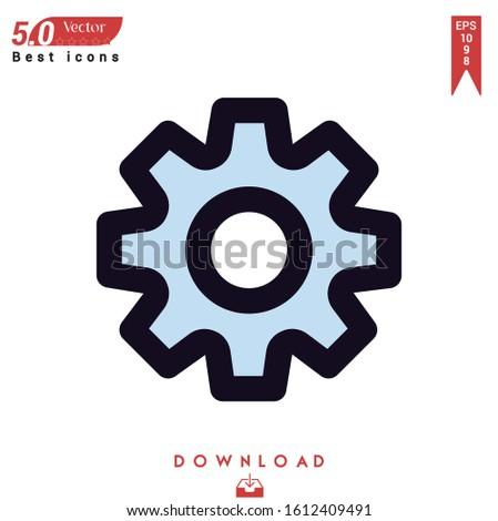 settings icon. settings icon vector isolated on white background. Graphic design, material-design, nuclear element icons, mobile application, logo, user interface. EPS 10 format vector