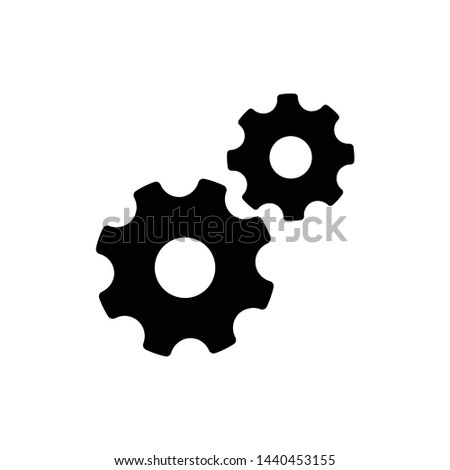 Settings icon, two cogwheels on white background