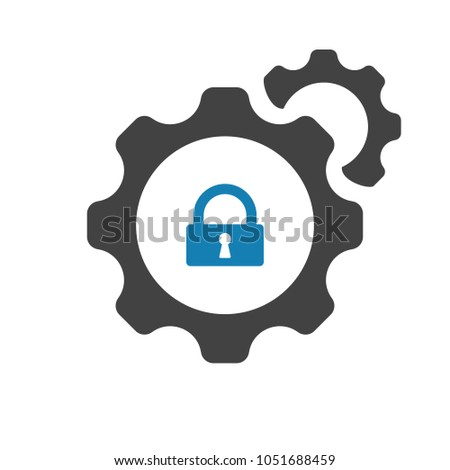 Settings icon with padlock sign. Settings icon and security, protection, privacy symbol. Vector icon