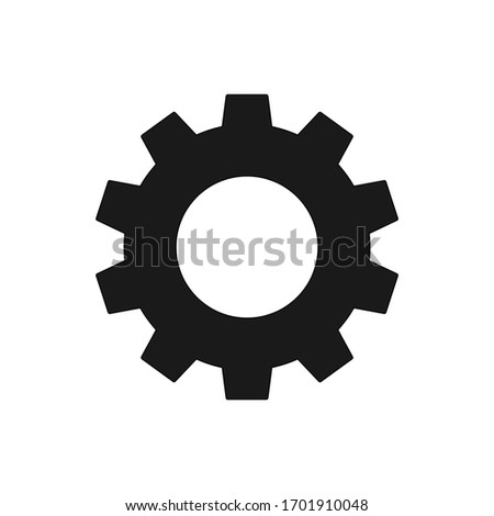 Settings isolated flat vector icon. Gear symbol. Vector gear tool or button for web application or UI.