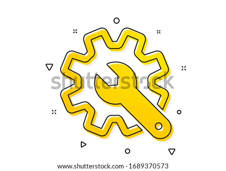 Settings or editing sign. Customisation icon. Repair symbol. Yellow circles pattern. Classic customisation icon. Geometric elements. Vector