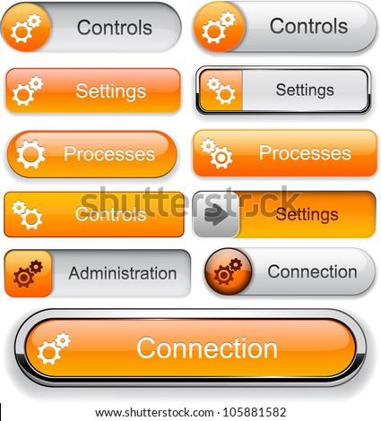 Settings orange design elements for website or app. Vector eps10.