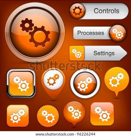 Settings orange design elements for website or app. Vector eps10.