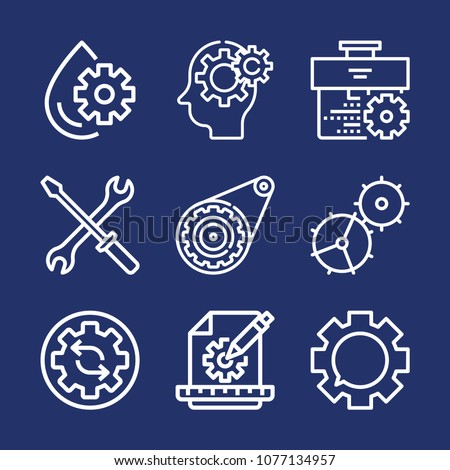 Settings outline vector icon set on navy background #1077134957
