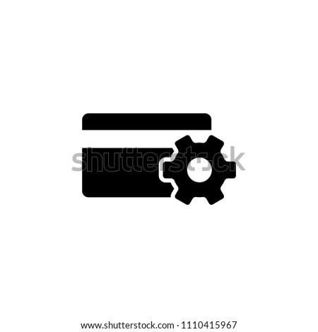 Setup Credit Card. Flat Vector Icon. Simple black symbol on white background