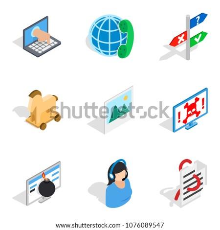Setup icons set. Isometric set of 9 setup vector icons for web isolated on white background