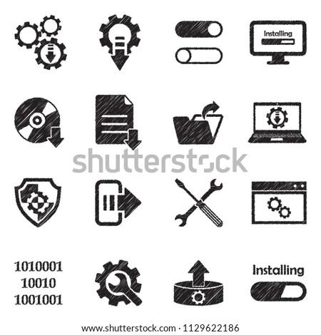 Setup, Installation And Configuration Icons. Black Scribble Design. Vector Illustration.