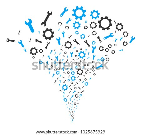 Setup Tools exploding fountain. Vector illustration style is flat iconic symbols. Object fountain organized from random pictograms as setup tools fireworks.