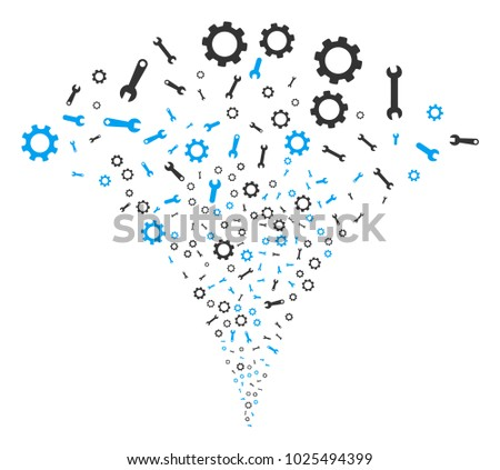 Setup Tools fireworks fountain. Vector illustration style is flat iconic symbols. Object fountain constructed from random pictograms as setup tools fireworks.